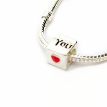 "Free Shipping 1pcs 925 Fashion Bead Charm "" You Heart "" Bead European Silver pandora Bead Fit BIAGI Bracelet"