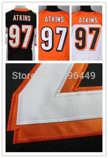 Cheap 97 Geno Atkins Jersey Elite Black Orange White Cincinnati Football Jersey Embroidery Sewn Stitched Rugby Jersey(China (Mainland))