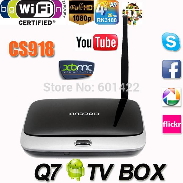 Телеприставка Q7 CS918 TV Box CS918 Quad Core RK3188T 4.4 /xbmc WiFi 1080P 1 /8 TVPP0031