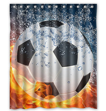 High Quality Polyester Waterproof Soccer Ball Water and Fire 60X72 Inch Shower Curtain Amazing Decorate your bathroom(China (Mainland))