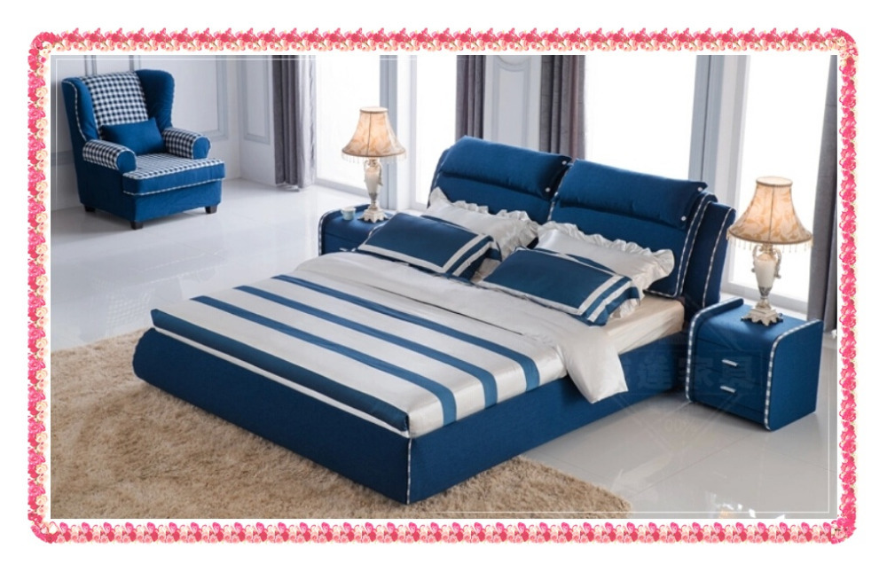 Dark blue linen double bed Modern fashion(China (Mainland))