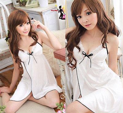 White Sexy Women Satin Lace Robe Sleepwear Lingerie Nightdress G-string Pajamas(China (Mainland))
