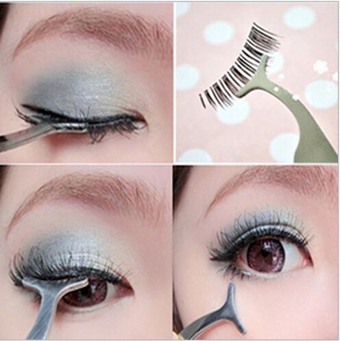 Beauty Tools Multifunctional False Eyelashes Stainless Auxiliary Eyelash Curler Tweezers Clip na506(China (Mainland))