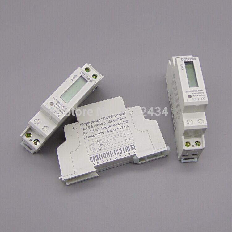 DDS6866 5(30)A 230V 50HZ Single phase Din rail KWH Watt hour din-rail energy meter LCD(China (Mainland))
