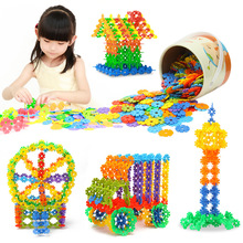 Brand New High Quality 100 PCS Plastic Snowflake Building Blocks Puzzle Educational Intelligence Toy(China (Mainland))