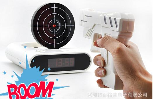"Free Shipping Unique 2.3"" LCD Gun Target Shooting Alarm Clock Watch for shooting+laser gun target alarm clock with LCD screen(China (Mainland))"