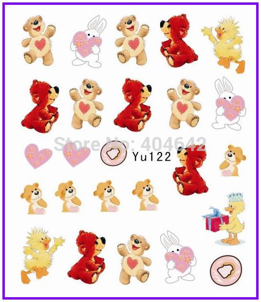 1X Nail Sticker Cute Teddy Bear Water Transfers Stickers Nail Decals Stickers Water Decal Opp Sleeve Packing YU122(China (Mainland))