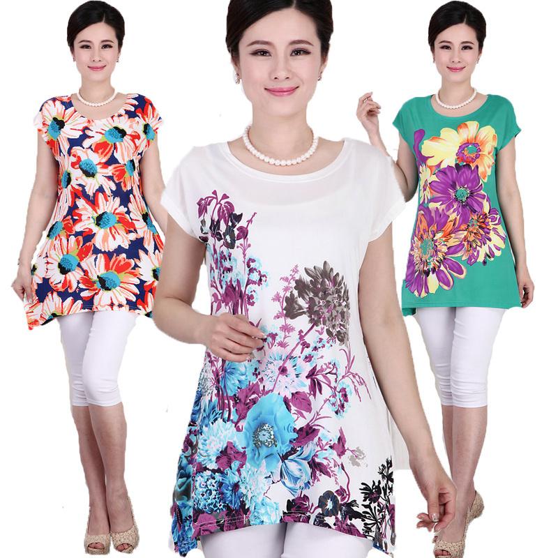 XL,XXL,3XL,4XL,5XL 2015 New Ropa Mujer Summer Flower Printed Plus Size Women T shirts Tops Camisetas Blusa Feminina 23 COLOR(China (Mainland))