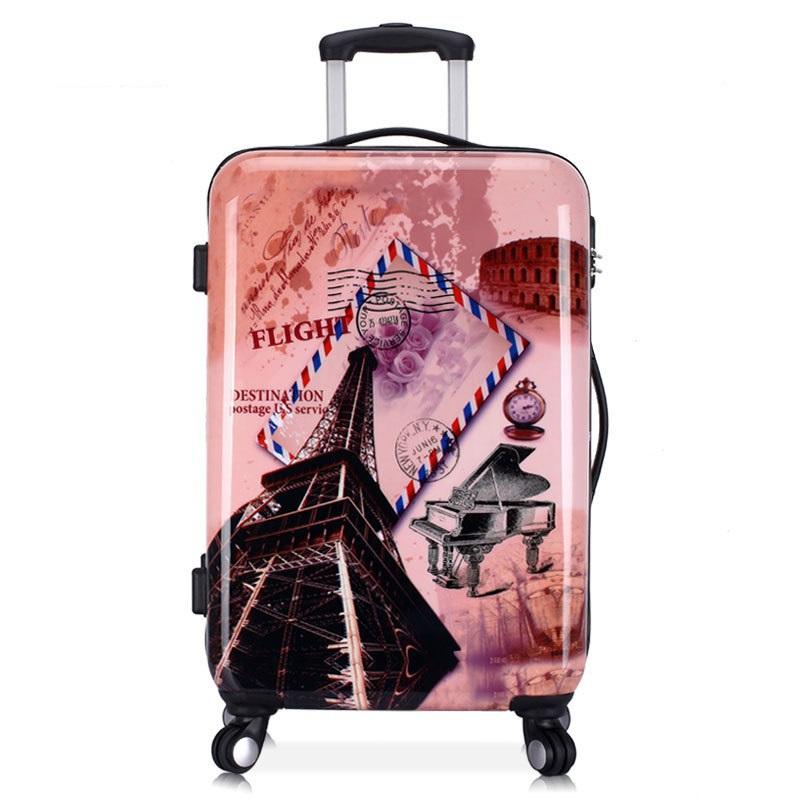 20'' 24'' Eiffel Tower Pattern,Graffiti,Zipper,Solid,Hardside luggage,Rolling Travel trolley luggage(China (Mainland))