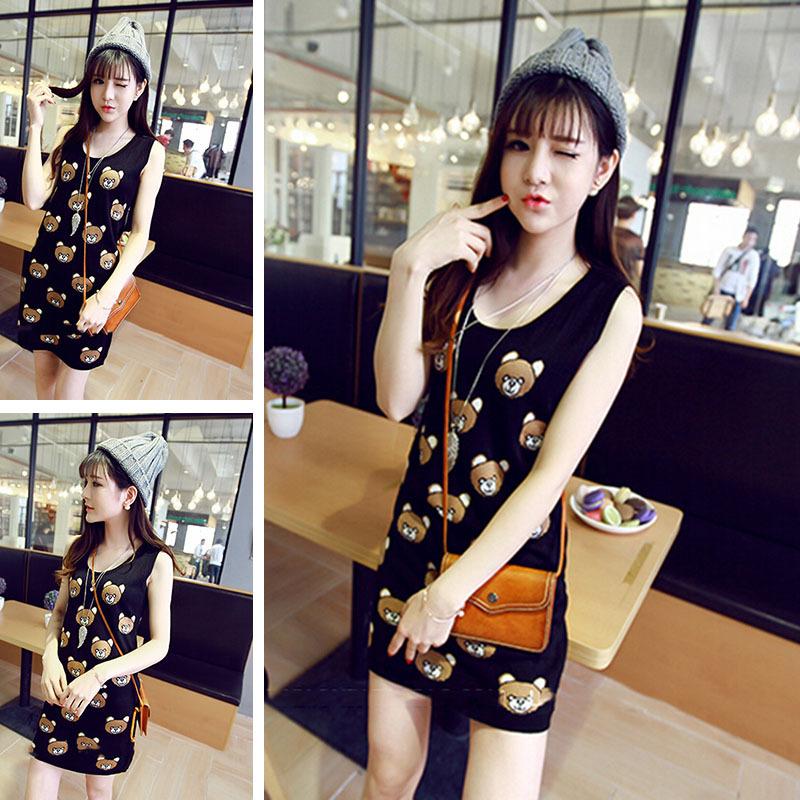 2015 new summer cartoon bear dresses women's knit sleeveless dresses(China (Mainland))
