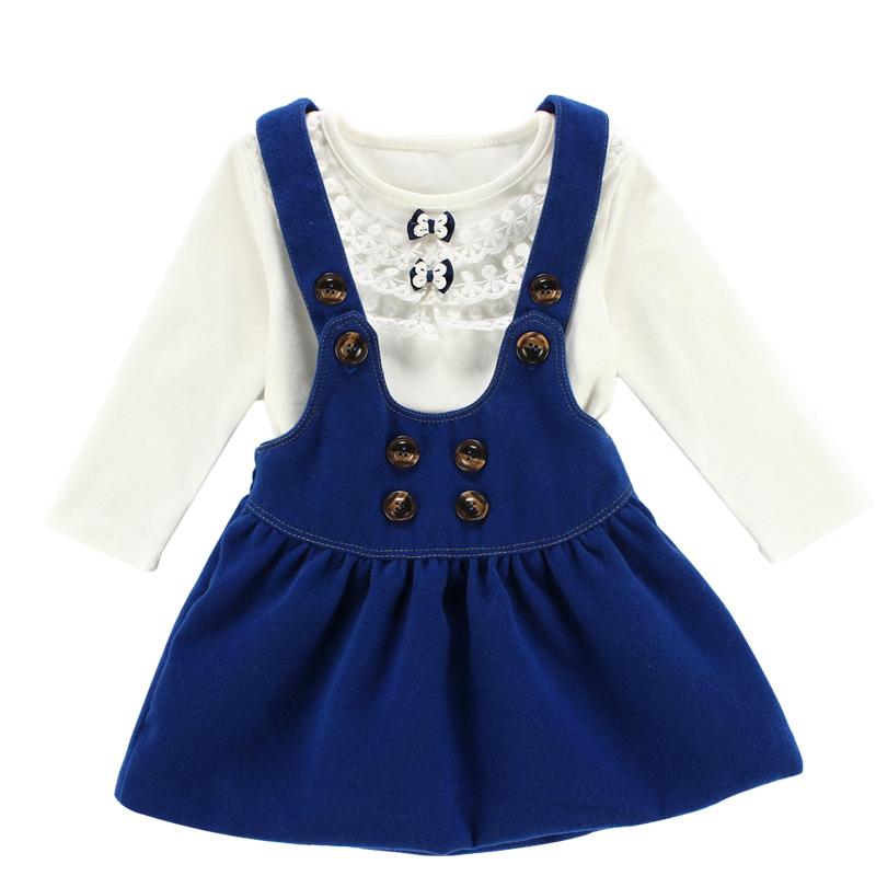 2015 spring baby girl's clothing set autumn infant clothing new born kids bebes clothes baby clothing 2pcs: T shirt+strap dress(China (Mainland))