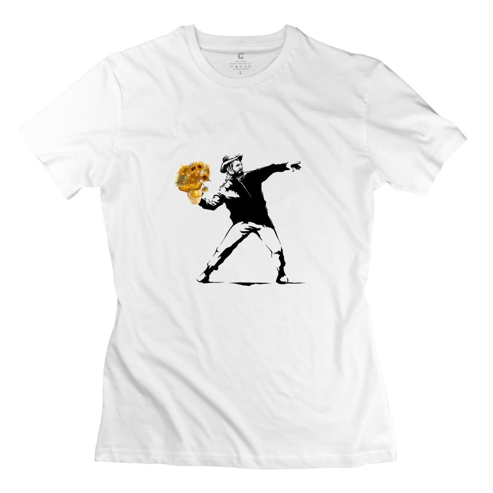 Screw Neck Van(ksy) Gogh Women's t-shirt Drop Shipping Great t shirts for Girlfriend(China (Mainland))