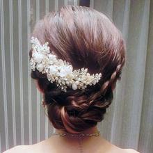 Women Ladies Fashion Rhinestone Bridal Wedding Flower Pearls Headband Hair Band Ribbon Clip Comb Jewelry Accessories HCJ401