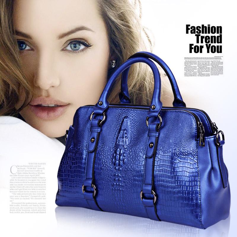 High quality genuine leather handbag new fashion women menssenger  bags for women shoulder  bags crocodile pattern handbag (China (Mainland))