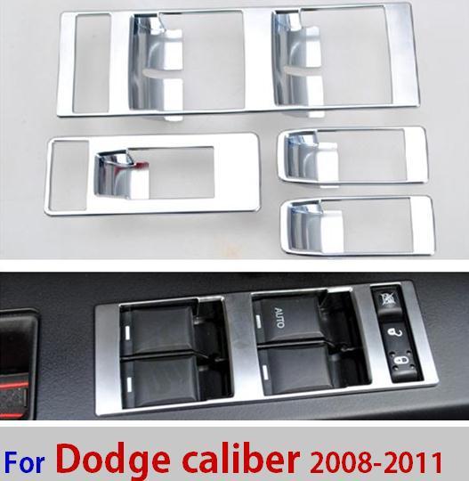 Intérieur accessoires ABS Chrome pour dodge caliber avant arrière porte accoudoir fenêtre verre bouton interrupteur à clé couvercle cadre de finition(China (Mainland))
