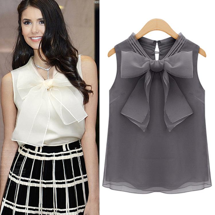 New 2015 Women Sleeveless Organza Big Bow Chiffon Blouse Women's Summer White and Black Elegant Blouse Ladies Tops Shirts 4B286(China (Mainland))