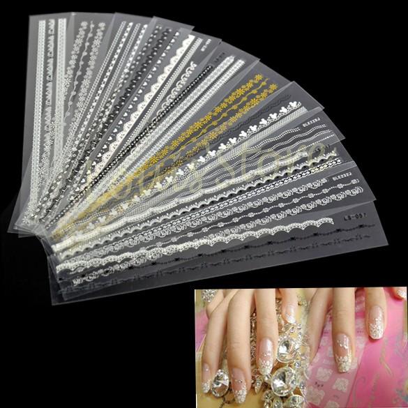 Best Price Stylish 12pcs Acrylic Mix Lace Stylish Decal For Nail Art French Tips Nail Sticker Decoration B3 8620(China (Mainland))