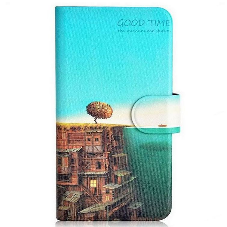2015 Sell like hot cakes House Ocean Boat Card Slot PU Leather Flip Case Cover For HTC one E8 M8St(China (Mainland))