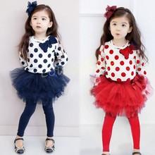 Discount New 2Pcs Baby Girl Cute Polka Dot Bowknot T-shirt + Culottes Long Pants Outfits Kids Spring Clothing Sets 29(China (Mainland))
