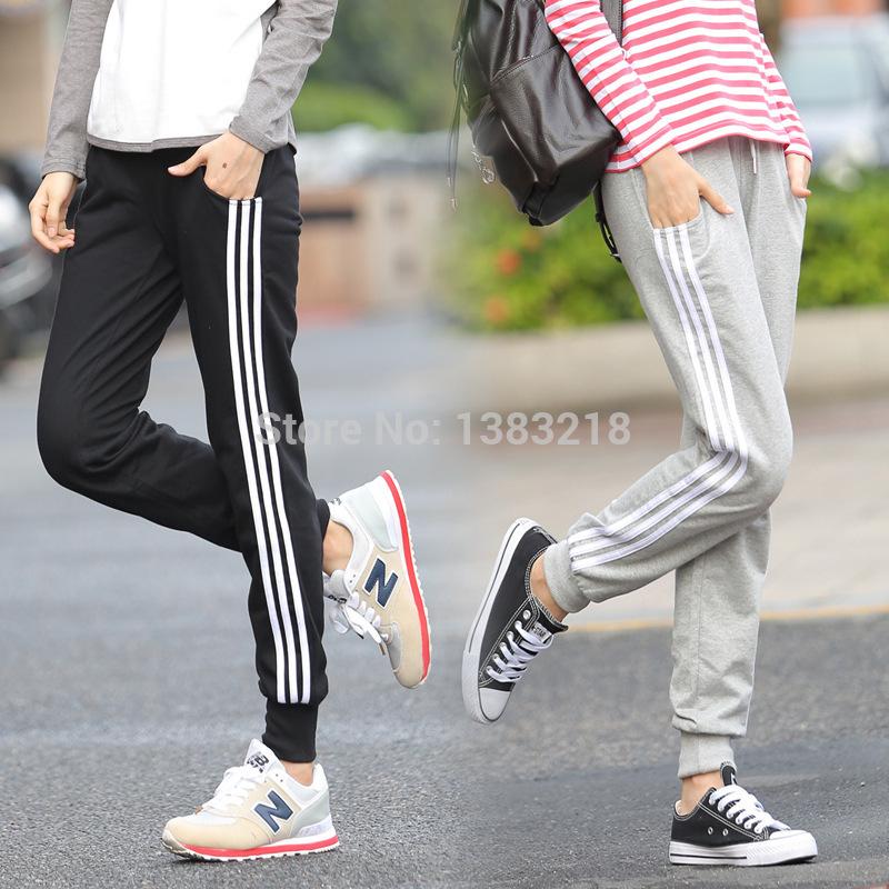 2015 New Women Cotton Harem Pants Autumn Three Stripes Female Wide Pants Women Sport Trousers Winter Black Gray Sweatpants(China (Mainland))