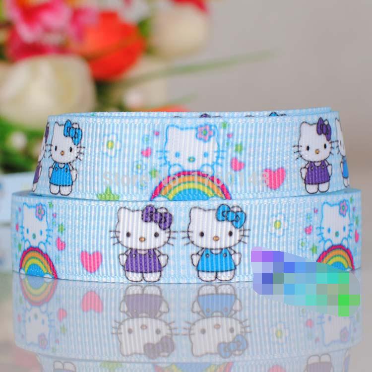 "Free hello kitty Printed 5/8"" Grosgrain Cartoon Ribbon DIY gift wrapping garment Bags clothing hair accessories 2008 tape(China (Mainland))"