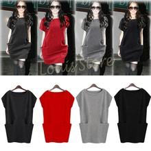 Autumn Dress Women's Sweater Dress Casual Pocket Dress Winter Jersey Dresses Plus Size 4 Colors Free Shipping #12 CB029884(China (Mainland))