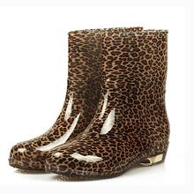 Women Waterproof Rain Boots Summer 2015 New Fashion Eur Size 36-40 Mid-calf Dots Plaid Leopard Rubber Rainboots Shoes 511(China (Mainland))