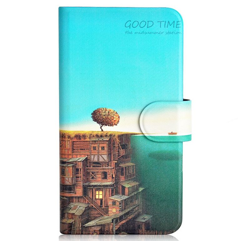 2015 Sell like hot cakes House Ocean Boat Card Slot PU Leather Flip Case Cover For ZTE Z5S mini(China (Mainland))