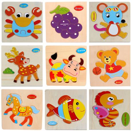 2015 Hot Sale Wooden Animal Puzzle Educational Toys Developmental Baby Toy Kids Training Free Shipping(China (Mainland))
