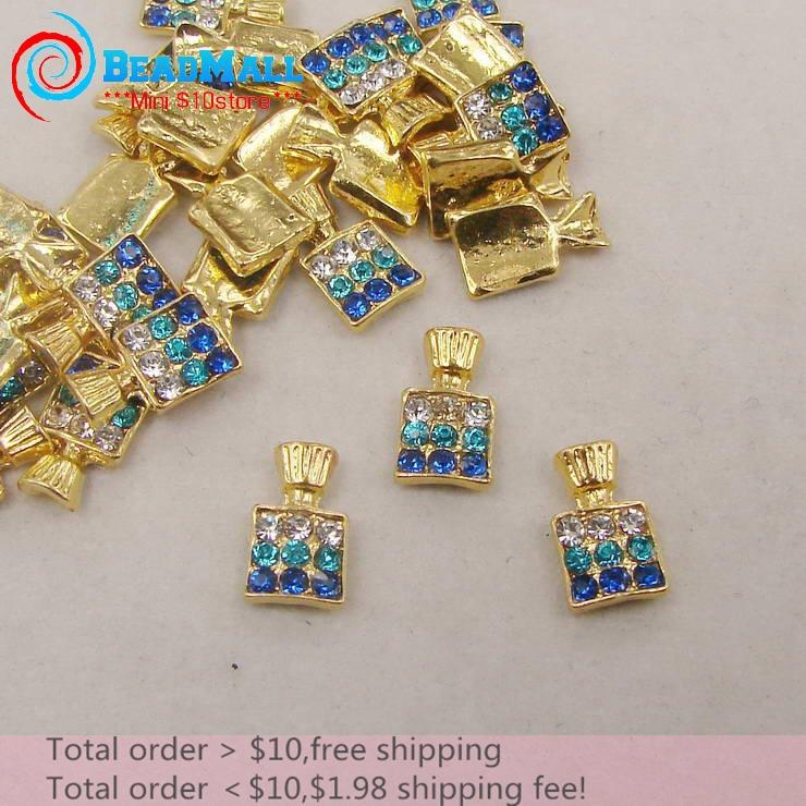 Min Order $10 Nail Supplies 20pcs/lot 6*10mm 3D Nail Art Decorations Alloy Crystal Blue Rhinestone Perfume Bottle Silver Metal(China (Mainland))