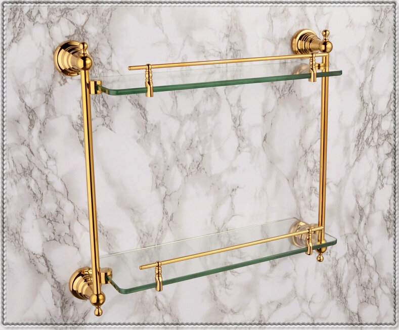 Free shiping copper gold paint double layer glass shelf shelving bathroom shelf bathroom shelf GB012d-1 torneira lavabo new(China (Mainland))