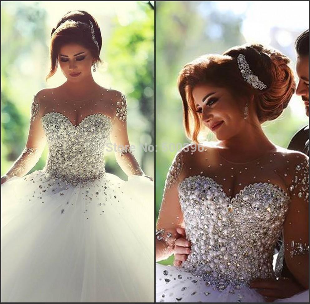 Пышные свадебные платья со стразами