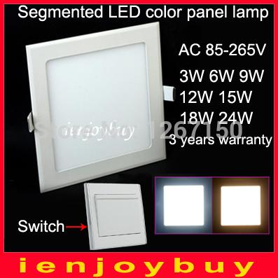 4pcs/lot wholesale change 3000K 6000K 9W/12W/15W/18W LED panel LED lights AC85-265V Square LED downlight light Free shipping(China (Mainland))