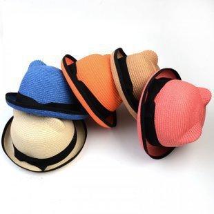 New Fashion Summer Wide Brim Hat Women Floppy Straw Cap For Women Ladies Cat Ears Foldable Sun Hats Beach Cap WT041(China (Mainland))
