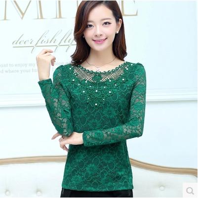 Blusas damas de encaje camisas Slim Plus size con cuentas Crochet ...