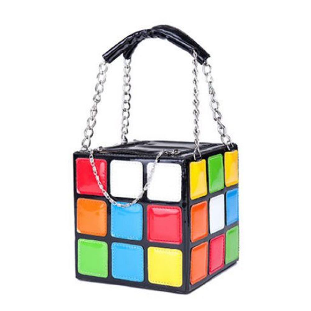 New Style Colorful Magic Cube Tote Bag Fashion Handbag PU Leather 15*15*15 cm(China (Mainland))