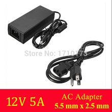 Ac konverter-adapter für dc 12v 5a 60w netzteil charger+cord kabel uns stecker für 5050/3528 smd led-licht oder lcd-monitor cctv(China (Mainland))