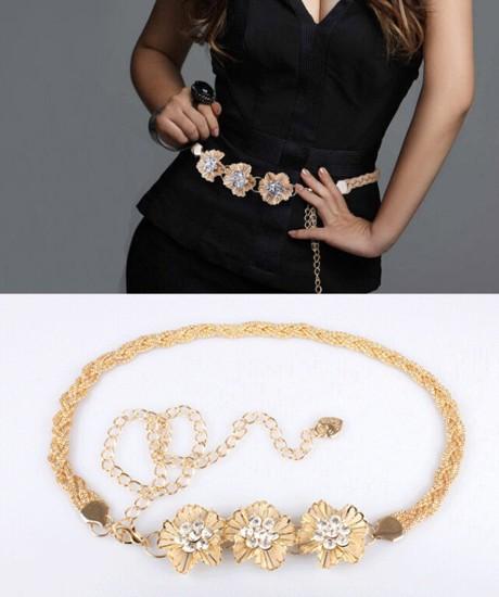 2015 Women's Gold Tone Crystal Flower Wide Braided Waist Chain Belt Waistband Jewelry(China (Mainland))