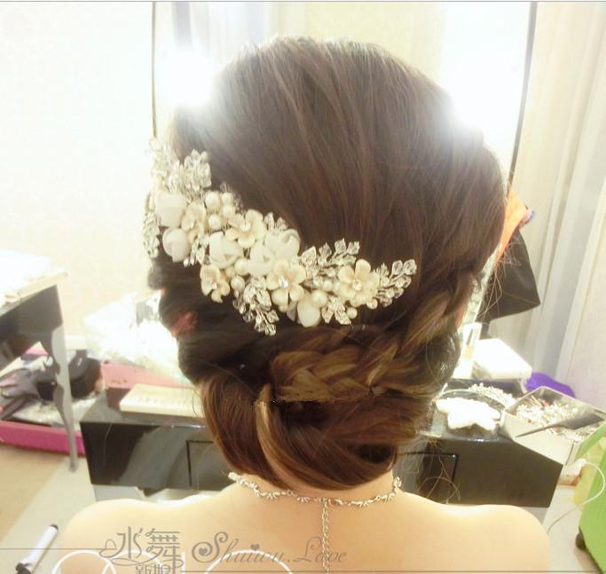 2015 new wedding Rhinestone hairwear with imitation pearl, ribbon and resin flower , elegent dinner hairwear, free shipping(China (Mainland))