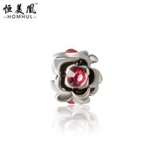 Free Shipping 925 silver Flower Alooy Crystal Bead Rhinestone Charm European Silver Bead DIY Fit Pandora Style Bracelet 00138