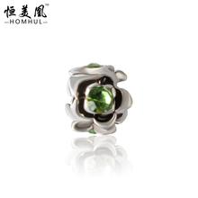 Free Shipping 925 silver Flower Alloy Crystal Bead Rhinestone Charm European Silver Bead DIY Fit Pandora