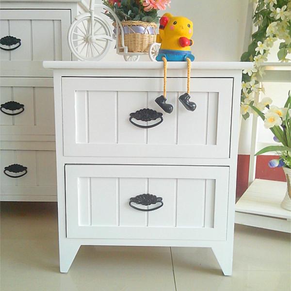 EC FURNITURE Pastoral Korean white minimalist wood nightstand drawer cabinet storage cabinets storage locker Antique White FR(China (Mainland))