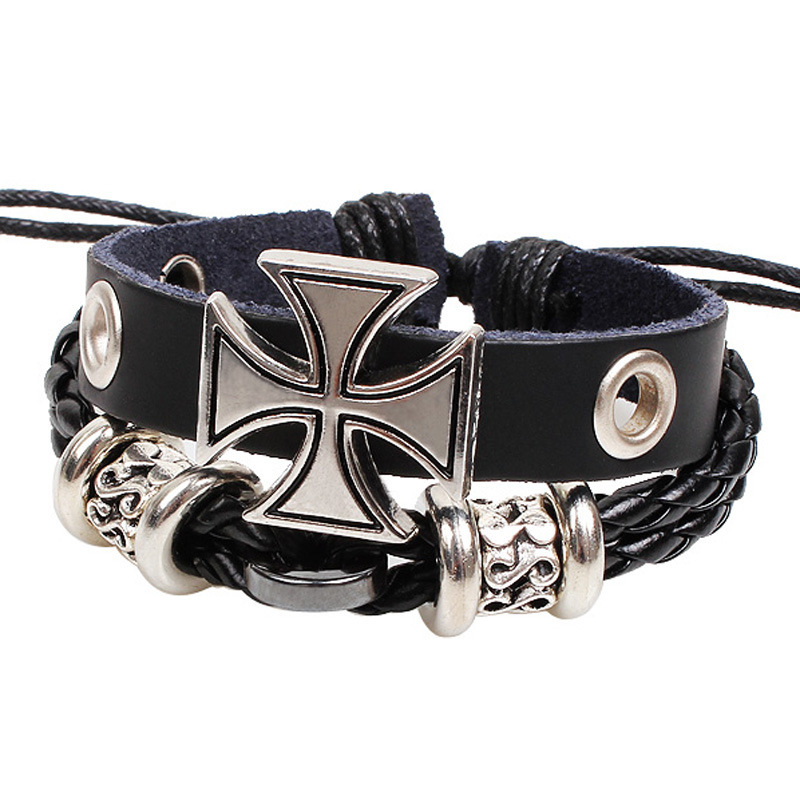 Free Shippping Hot sale European The New Fashion Men Jewelry Genuine Leather Bracelets Wrap Bracelet Bangles