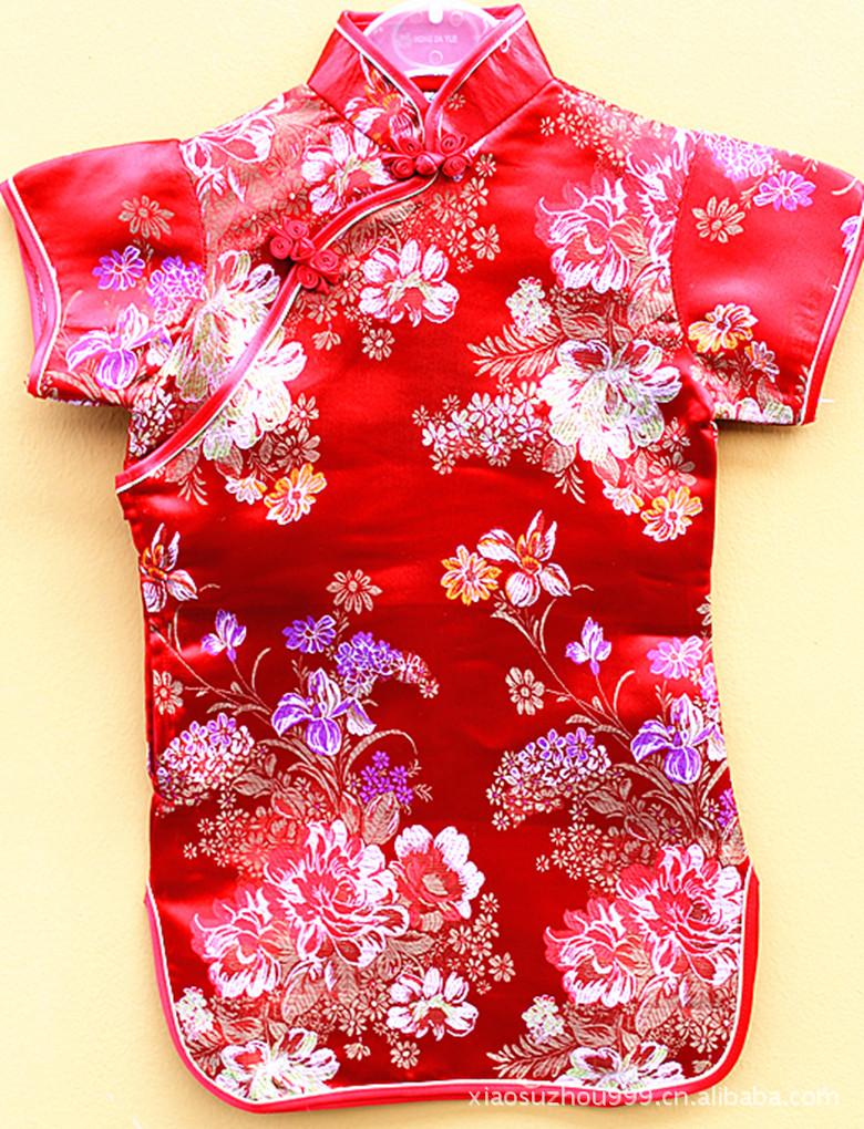 Atacado especial cheongsam cheongsam clássico peony infantil vestido da menina feminino(China (Mainland))