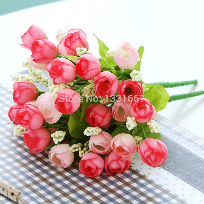 5pcs/lot 5fork/pcs Springtime Artificial silk flower tea rose fake Bouquet home decor living room Office coffee table wedding(China (Mainland))