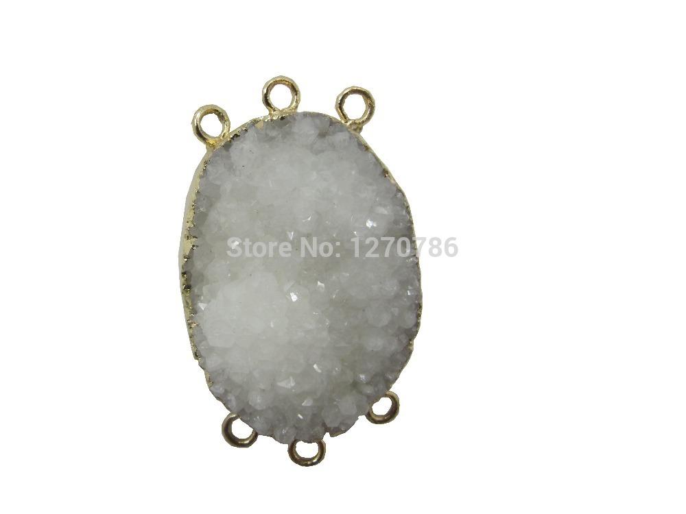 Natural Geode Quartz Druzy Pendant 6loops Gem stone Druzy Jewelry necklace Connectors pendant 10pcs/lot(China (Mainland))