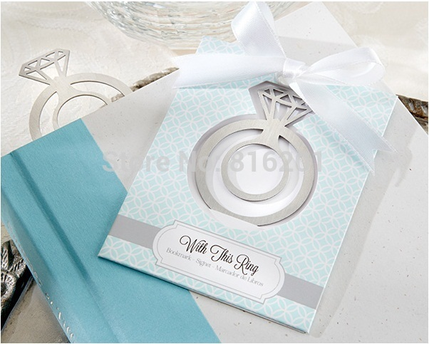 2015 New Arriver Wedding Ring Bookmarks Favors, Creative personalized wedding favors& gifts Bookmark 10PCS/lot(China (Mainland))