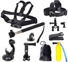 Gopro Hero Accessories Set Helmet Floating Selfie stick Monopod Chest Belt Head Mount Strap Gopro Hero 2 3 3+ 4 Sj4000 Kit(China (Mainland))