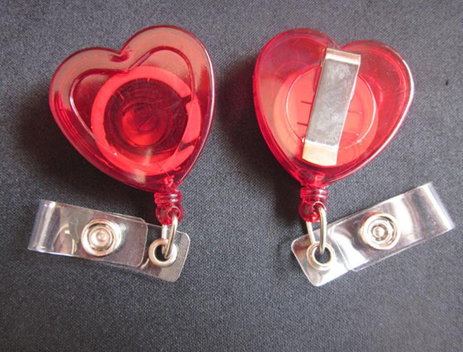 10pcs Heart shape Badge Reels , Secure clip on Retractable pull , ID card holder , key bak name tags(China (Mainland))