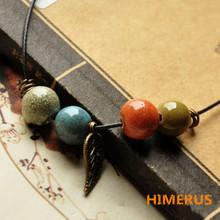 Ethnic Style Pendant Original Handmade Necklace Glazed Ceramic Beads Iridescent Women Jewelry Handicraft